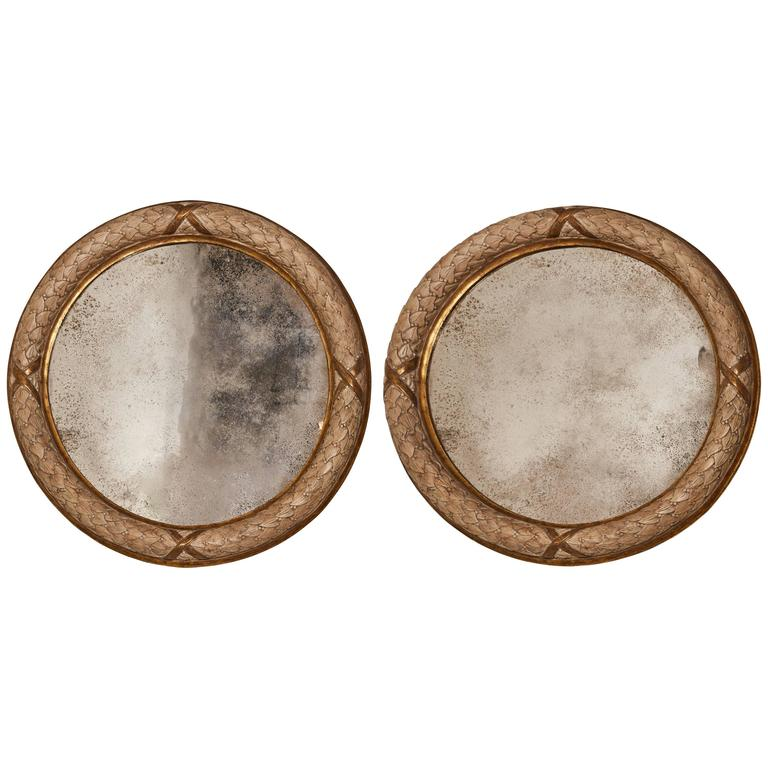 Pair of 20th Century Carved Circular Mirrors