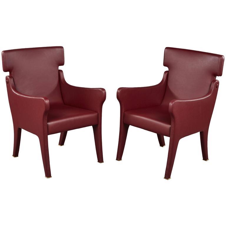 Pair of Ignazio Gardella Leather Chairs