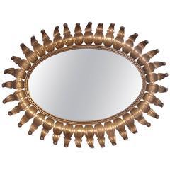 Hollywood Regency Oval Brass Mirror