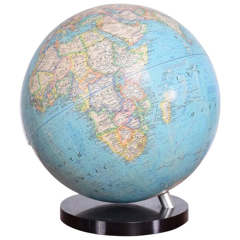 Vintage Modernist World Globe by National Geographic