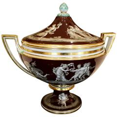 Continental Covered Soup Tureen in Neoclassical Style with Bacchic Decoration