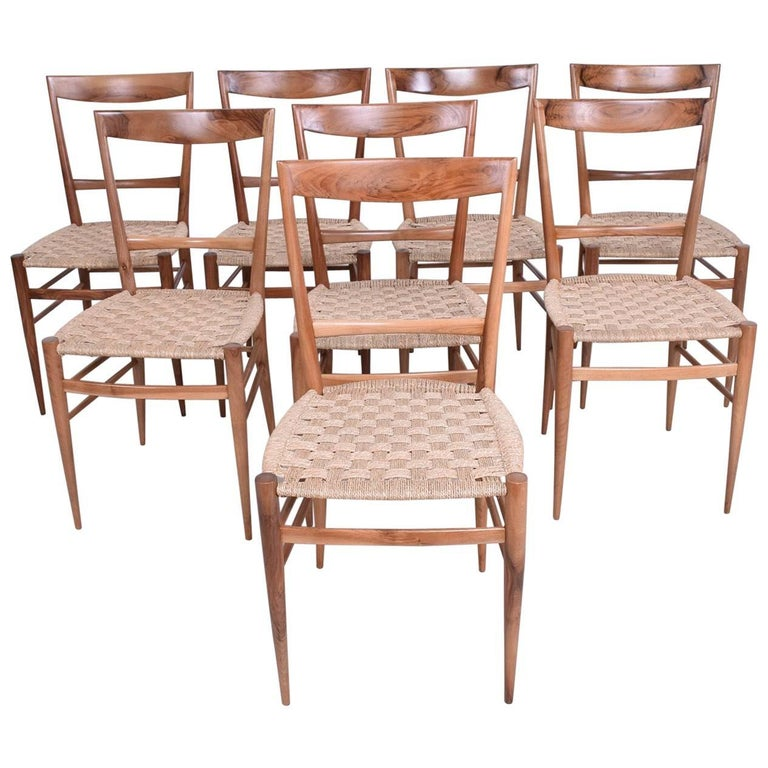 Set of Eight Italian Superleggera Dining Chairs Attributed to Gio Ponti For Sale
