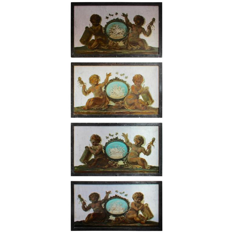 Early 19th Century Set of Four Trompe-L'Oeil Oil Paintings on Marble with Putti For Sale