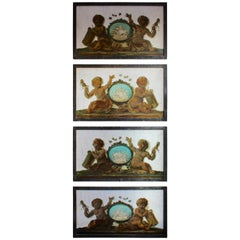 Early 19th Century Set of Four Trompe-L'Oeil Oil Paintings on Marble with Putti