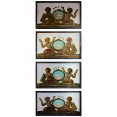 Set of Four Trompeloeil Oil Paintings on Marble