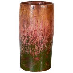 Multicolored Teak Drum Vase