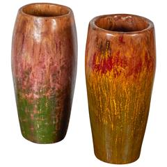 Tall, Colorful Teak Drum Vases