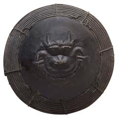 Antique Iron and Willow Tibetan Shield, Large and Unusual