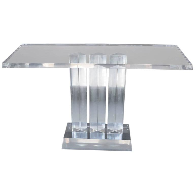 Geometric Lucite Console Table