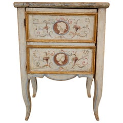 18th century Italian Polychrome Painted and Gilt Chamber Pot Bedside Commode
