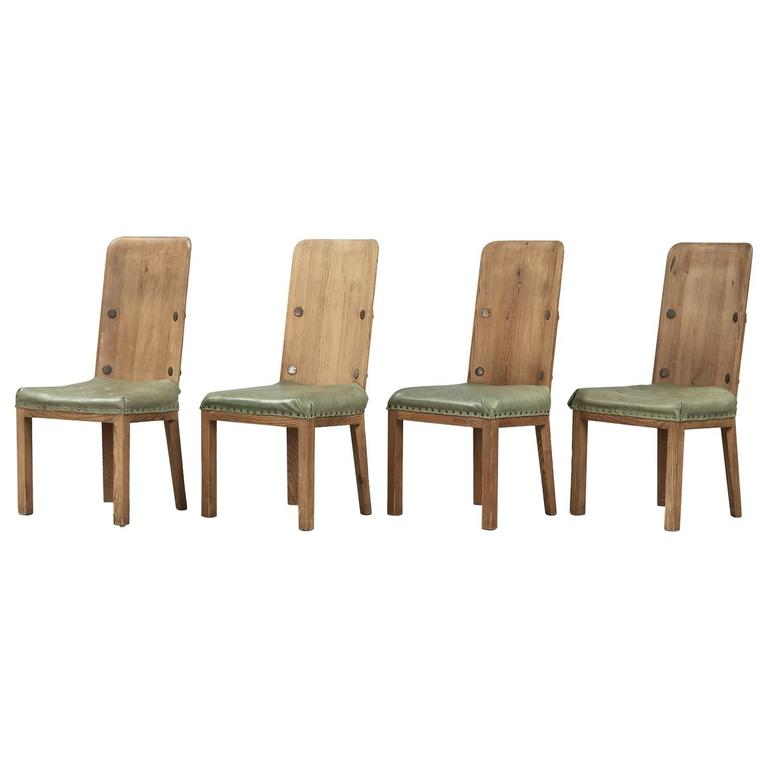 "Axel Einar Hjorth Set of Four Pine Dining Chairs Model ""Lovö"""
