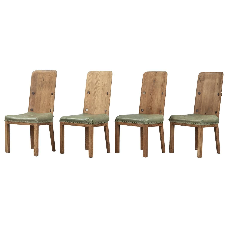 "Axel Einar Hjorth Set of Four Pine Dining Chairs Model ""Lovö"" Swedish design"