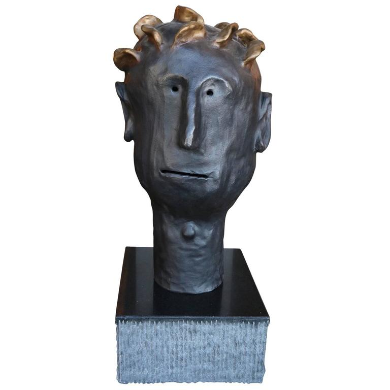 Leroy Bronze Sculpture by Danny First with Granite Base For Sale