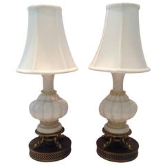Mid-Century Pair of Italian Murano Glass White and Gold Boudoir Lamps