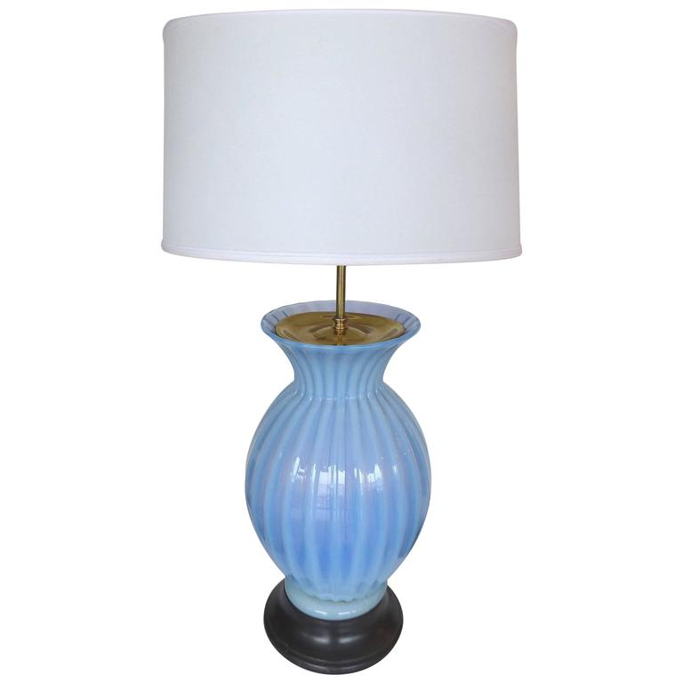 Mid Century Modern Blue Murano Gl Table Lamp By Marbro For