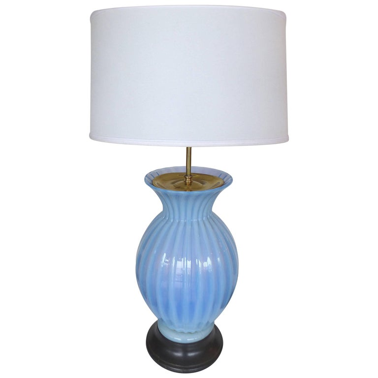 Mid-Century Modern Blue Murano Glass Table Lamp by Marbro For Sale