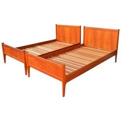 Pair Teak Dyrlund Twin and Single Bed Frames