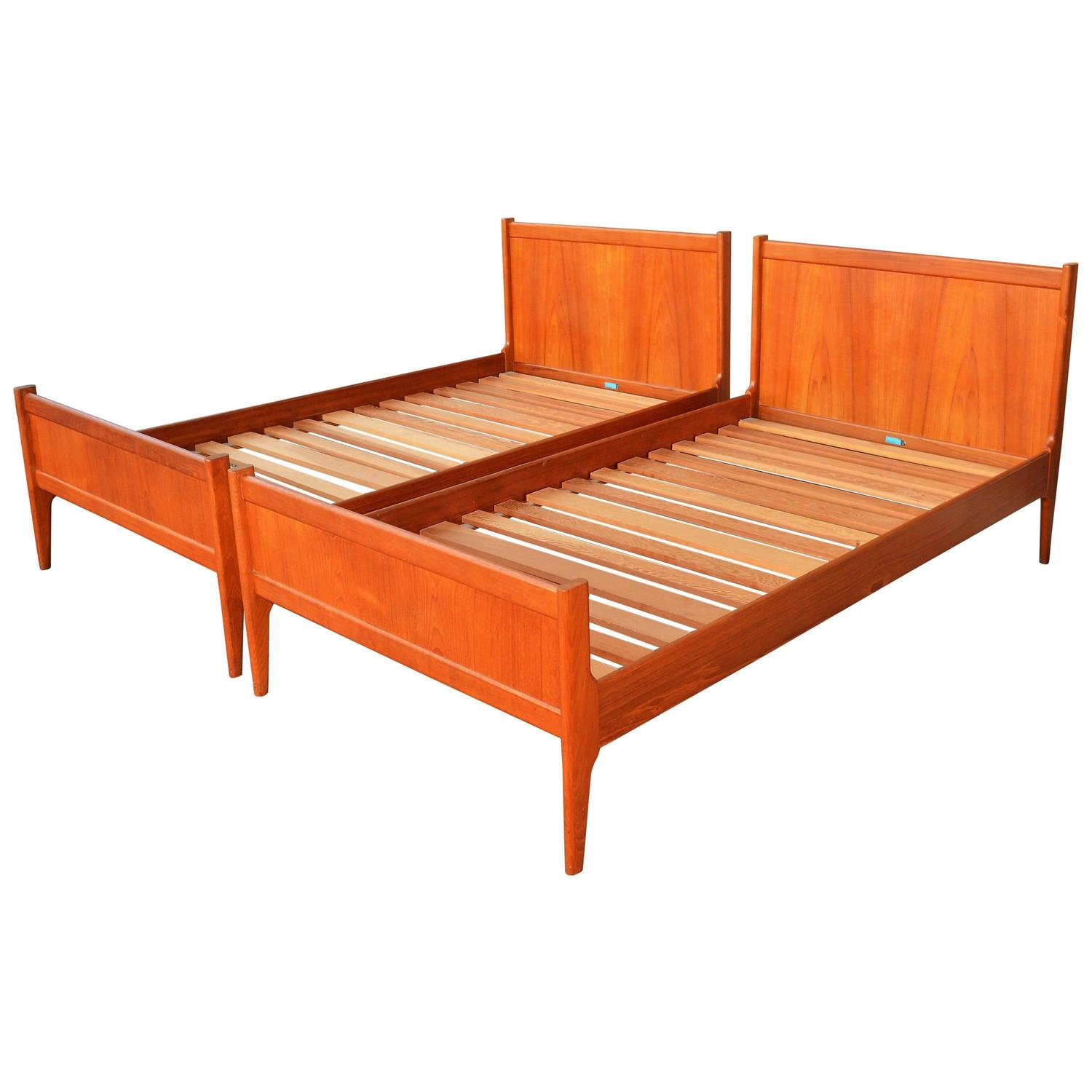 Pair Teak Dyrlund Twin And Single Bed Frames At 1stdibs