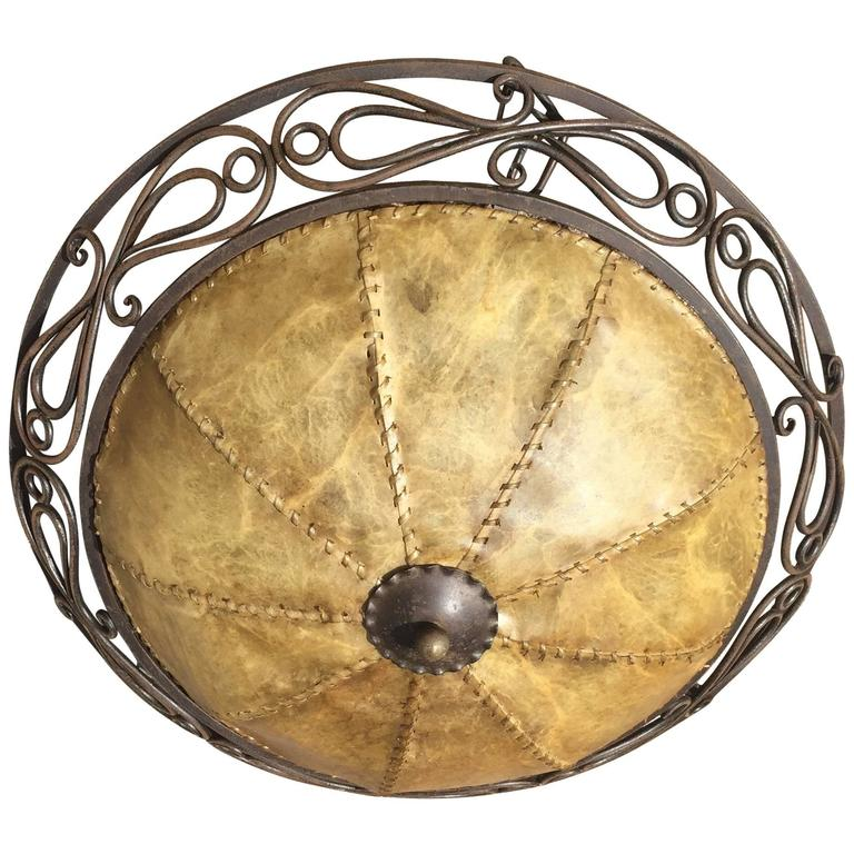 Early 20th Century Vintage Wrought Iron Pendant Ceiling Lamp with Hide Shade