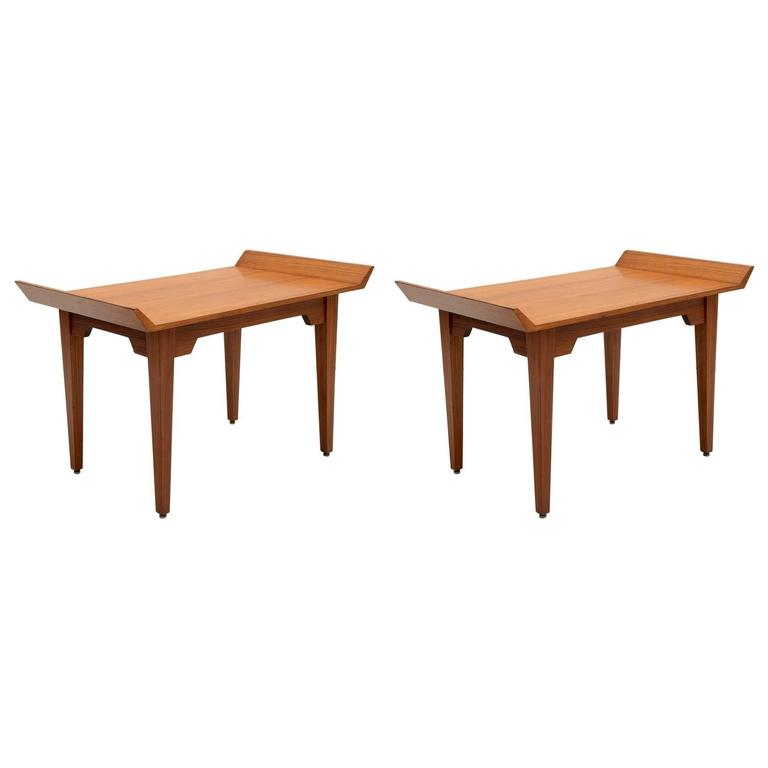 Italian Teak Wood Pair of 1960s Side Table or Stools 1