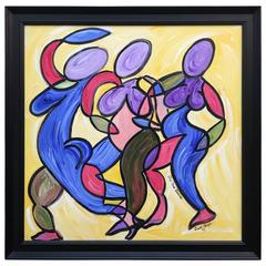 "David Harper ""The Three Dancers,"" Original Painting on Canvas"
