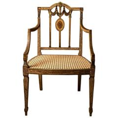 King George III Painted Desk Chair in the Sheraton Manner, 18th Century