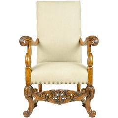 Renaissance Revival Style Carved Walnut Armchair