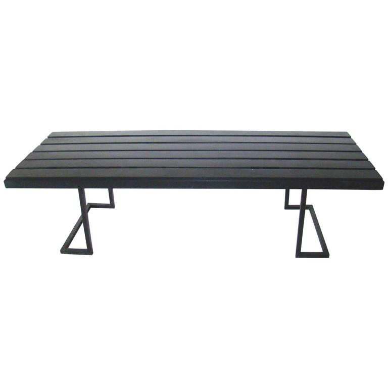 1950 Metal and Lacquered Wood Coffee Table