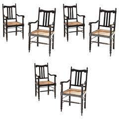 Set of Six Bobbin Turned Anglo-Indian Ebonized Armchairs