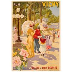 Original Antique Art Nouveau Travel Advertising Poster for Vichy by PLM Railway