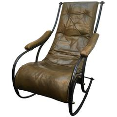 19th Century Robert Winfield Design Leather and Steel Rocking Chair