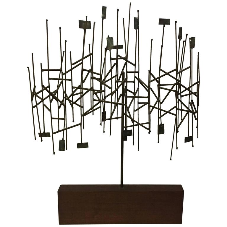 1960s Mixed Metals Abstracted Tree Sculpture in the Manner of Harry Bertoia For Sale