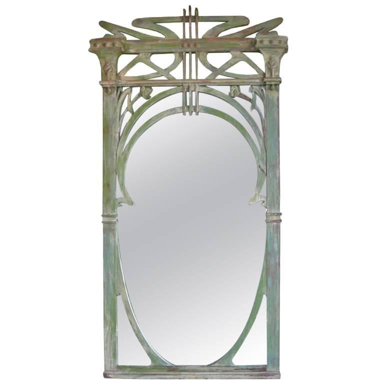 French Art Nouveau Hand-Carved Wood Mirror For Sale