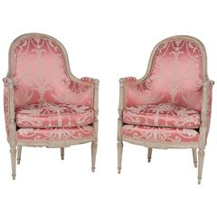 French, Louis XVI Style Bergeres or Armchairs