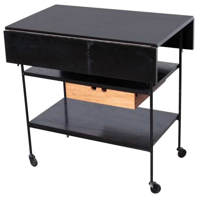 Paul McCobb Maple Or Black And Wrought Iron Bar Cart Planner Group For Sale