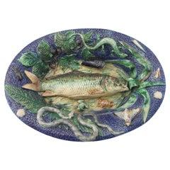 19th Majolica Palissy Fish Wall Platter School of Paris