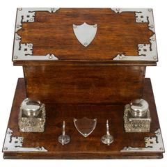Victorian Wood and Silver Plate Writing Box with a Pair of Inkwells