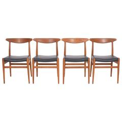 Set of Four Hans J. Wegner Side Chairs for C M Madsen