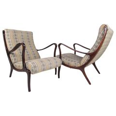 Pair Osvaldo Borsani Style Lounge Chairs