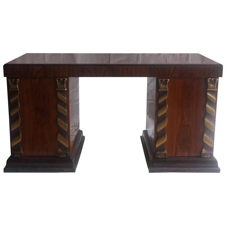 1930s French Art Deco Desk in Jacaranda Wood