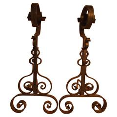 Scrolling Hand-Forged Wrought Iron French Fireplace Andirons, circa 1920s