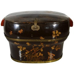Hand-Painted and Lacquered Wedding Box with Flowers from, China, 19th Century