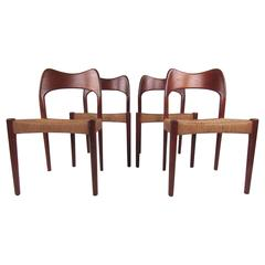 Mid-Century Modern Teak & Papercord Dining Chairs in the Style of N.O Møller