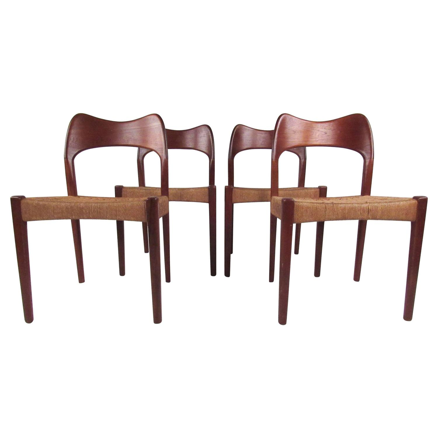 Mid Century Modern Teak And Papercord Dining Chairs In The