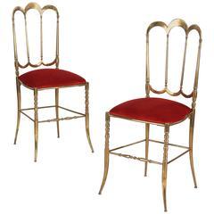 Pair of Italian Chiavari Brass Chairs, 1960s