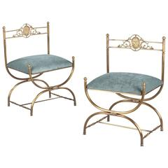 Pair of Vintage Italian Empire Style Brass Chairs, 1950s