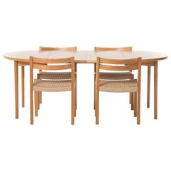 Fir Dining Table Set with 4 Chairs