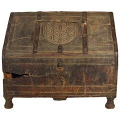 Antique Indian Mughal Wood Dowry Chest with Carved Patterns, 19th Century