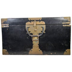 Antique Dark Lacquered Wood Chest with Brass Hardware, Japan, 19th Century