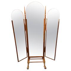 Vintage Italian Brass Three Way Folding Floor Mirror